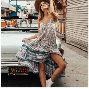 Boho gypsy Floral print cami maxi dress